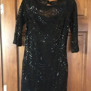Monique Lhuillier Black Sequin Dress w Liner